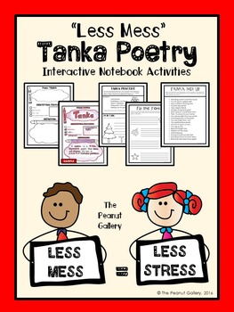 """FREE """"Less Mess"""" Tanka Poetry Interactive Notebook Activities"""