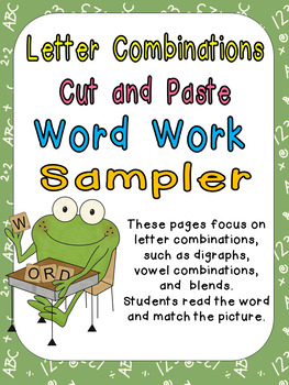 FREE Sample Letter Combinations Cut & Paste Word Work- Kindergarten & 1st Grade