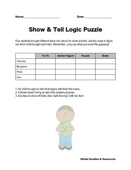 FREE Sample Logic Puzzle - Show & Tell