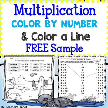 FREE Sample Multiplication Color by Number and Color a Line