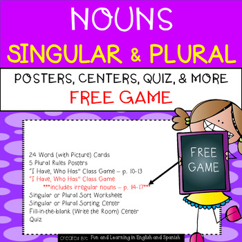 FREE Sample - Nouns:  Singular and Plural UNIT - Word Cards, Centers, Quiz, Etc.