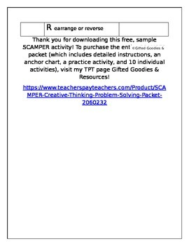 FREE Sample SCAMPER Activity
