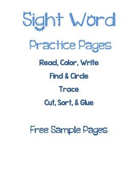 FREE Sample Sight Word Practice