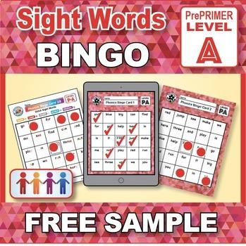 FREE Sample Sight Words Bingo: Reading Phonics Games Kindergarten & Grade 1