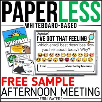 FREE Sample Whiteboard Afternoon Meeting {1 Week of Paperless Meetings}