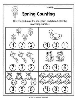 FREE Sample of Spring Activities For Kindergarten (Math No Prep)