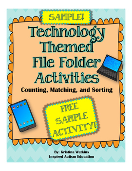 FREEBIE! SAMPLE of Technology File Folder Bundle Autism Resource