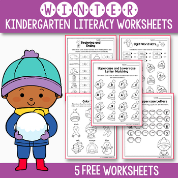 FREE Sample of Winter Activities For Kindergarten (Literacy No Prep)