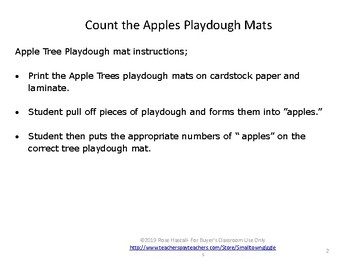 FREE Sampler: Counting Apples Play Dough Mats Fine Motor Skills