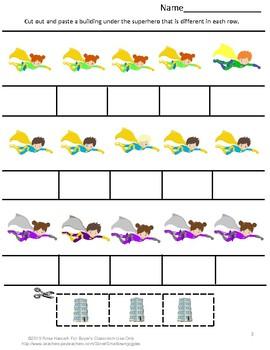 FREE Sampler: Super Hero Cut and Paste Worksheets P-K, P, Special Ed, Autism