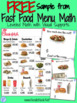 FREE Sampler from Fast Food Menu Math for Autism Units and SpEd