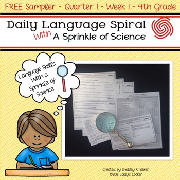 FREE Sampler of Daily Language Spiral With a Sprinkle of Science 4th Grade