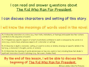 FREE Sampler of The Kid Who Ran for President Power Point