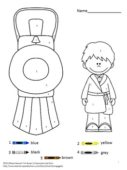FREE Sampler Christmas Morning NO PREP Color By Number Coloring Pages
