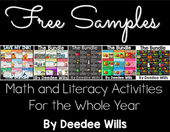 FREE Math and Literacy Activity Samples