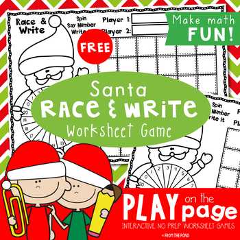 Christmas - FREE Santa Race and Trace Worksheet Game