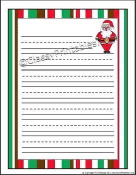 FREE Santa Rudolph Christmas Lined Handwriting Paper PDF