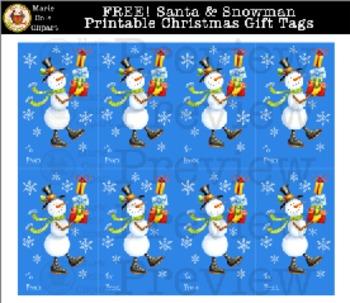 FREE! Santa & Snowman Printable Christmas Gift Tags [Marie Cole Clipart]