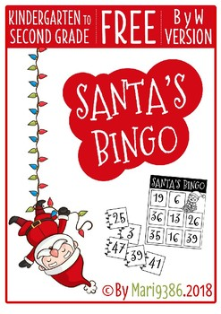 FREE Santa's Bingo - Christmas - ByW version