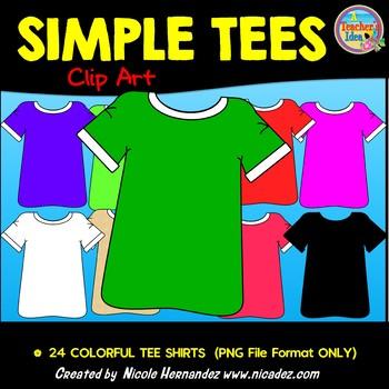 Simple Tees (T-Shirts) Clip Art for Teachers