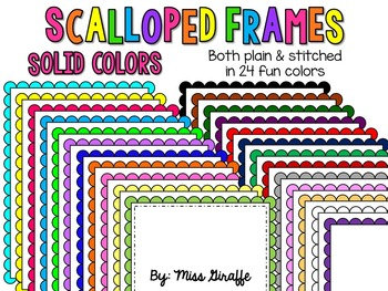 FREE Scalloped Frames Page Borders Clip Art {Solid Colors}