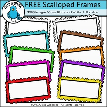 FREE Scalloped Rectangle Frames Clip Art Set - Chirp Graphics