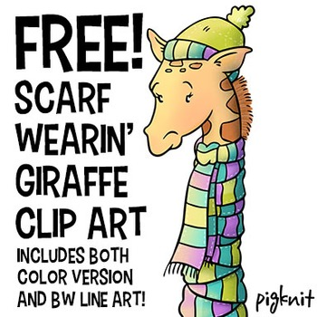 FREE Scarf Wearin' Giraffe Clip Art | Winter | Animal | Zoo