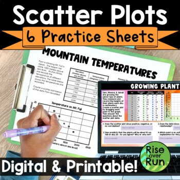 Scatter Plot Practice Worksheets, Bell Ringers or Exit Tickets