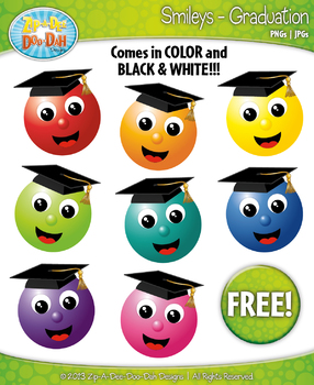 {FREE} School Graduation Smiley Clipart Set Faces Emotions