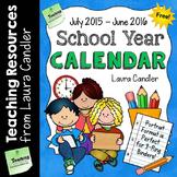 FREE School Year Calendar (2015 - 2016)