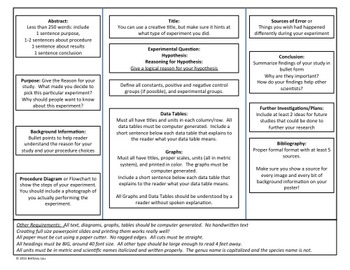 FREE Science Fair Poster Creation Instruction Sheet