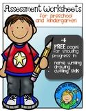 FREE Assessment Worksheets for Preschool and Kindergarten