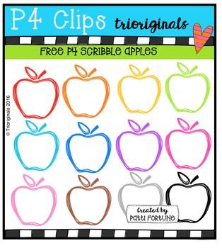FREE  Scribble Apples {P4 Clips Triorignals Digital Clipart}