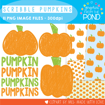 Pumpkin Clipart Freebie {Scribble Pumpkin}