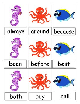FREE Seaside Sight Word UNO (Second)