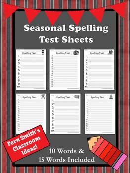 FREE Seasonal Printable Spelling Test Worksheets