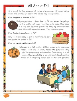 FREE Second Grade All About Fall Reading Comprehension Activity