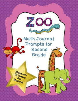 FREE!  Second Grade Math Journal Prompts:  Zoo Theme (Common Core Based)