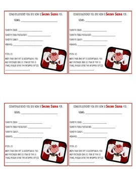 FREE: Secret Santa Tags/Questionnaire