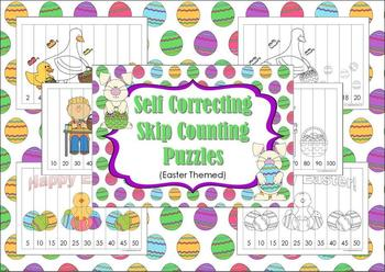 FREE Self Correcting Skip Counting Puzzles-Easter theme