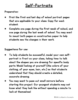 Self Portrait Pages FREEBIE: Beginning and End of the School Year (English)