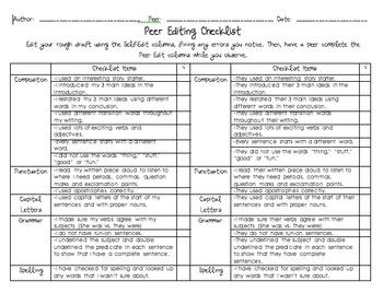 FREE Self and Peer Editing Checklist