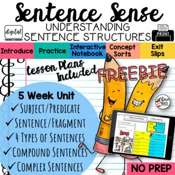 FREE Sentence Structure Grammar Unit for 3rd Grade, 4th Grade, 5th Grade