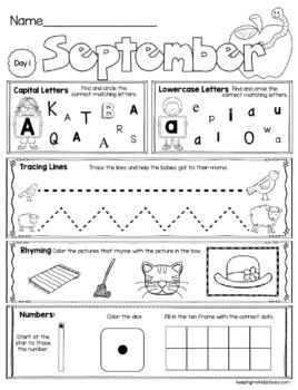 FREE September Morning Work for Kindergarten - First Day of School Activities