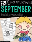 FREE September Picture Writing Prompts for Beginning Writers