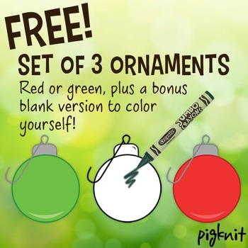 FREE Set of 3 Christmas Ornaments Clip Art, Christmas Balls, Instant Download