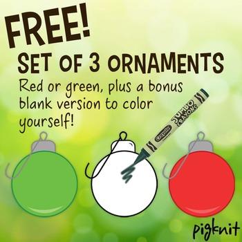 FREE Set of 3 Christmas Ornaments Clip Art, Christmas Ball