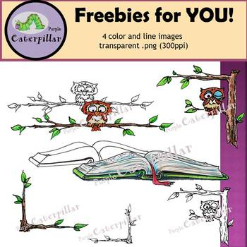 Free!  Book and Owl in Tree Clip Art