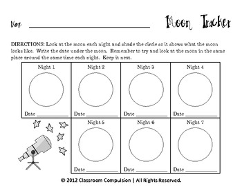 free seven day moon tracker for moon phases unit by classroom compulsion. Black Bedroom Furniture Sets. Home Design Ideas
