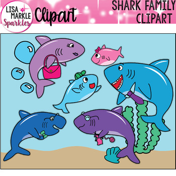 FREE Shark Family Clipart With Baby Sister Brother Mommy Daddy Grandma Grandpa